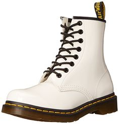 Leather upper with fabric panel at shaft. Man-made lining. Lightly cushioned man-made footbed. Man-made sole. White Wedges, White Shoes, Black Boots, Dr Martens Men, Dr. Martens, Patent Leather Boots, Black Leather, Holiday Shoes, Lace Up Boots