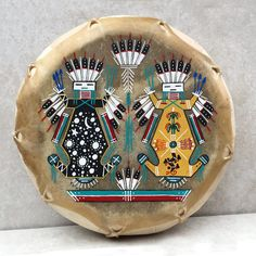 Native American Drum-Navajo Large Hand Painted Cochiti  Drum -  YEI Design by AndTheCrow