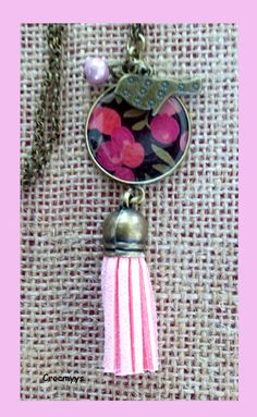 Sautoir rétro liberty wiltshire rose : Collier par crocmyys