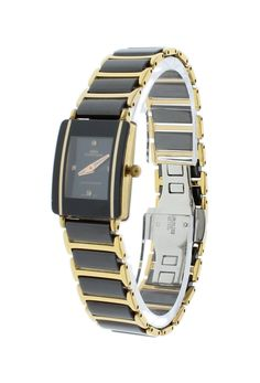 Oniss ON294-LBL/GBK Women's Watch Dark Blue Dial Stainless Steel/Ceramic Case & Band