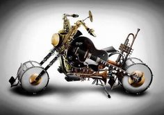 Custom Band ll - digital art by Alessandro Della Pietra. Check out how cool this is, creating a motorcycle out of instruments! What a great marriage. Best Guitar Players, Optical Illusions, Music Stuff, Music Items, Art Music, Music Books, Music Guitar, Music Lovers, Rock Music
