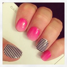 Jamberry Nail wraps #KissMeOmbreJN #BlackWhiteSkinnyJN