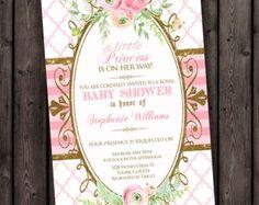 Pink gold princess baby shower invitation pink and gold baby flower baby shower invitation fast ship customized wording stopboris Gallery