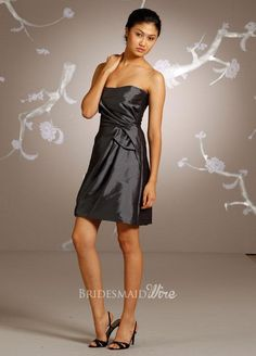graphite taffeta a-line knee length bridesmaid dress strapless curved neckline $149