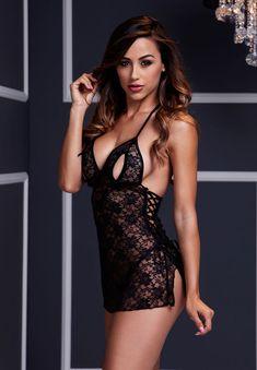 Black Lace Babydoll 1 Pc #Lingerie #Sexy #Erotic #Panties #Stockings #String #Negligee #Nightwear #Underwear #Intimate