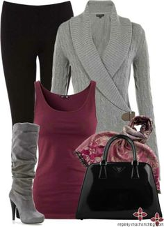 winter outfit: grey sweater and shoes with maroon undershirt and black pants