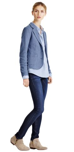 Damen Outfit Flavie von OPUS Fashion: blauer Blazer Juno tweed, blau gestreifte Bluse Flavie, blaue Jeans Elma blue