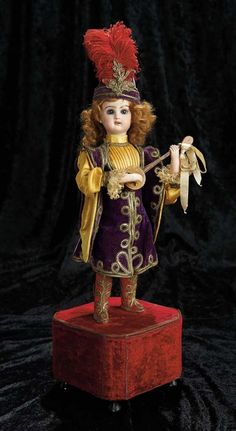 "Soirée: A Marquis Cataloged Auction of Antique Dolls and Automata - May 14, 2016: Lot 4. French Bisque Musical Automaton ""Troubadour Playing the Mandolin"" Roullet et Decamps"
