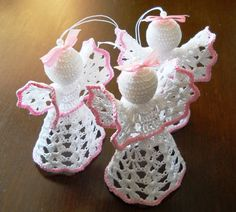 Beautiful Crochet Angels in Gold color & White with by MartaCarlin