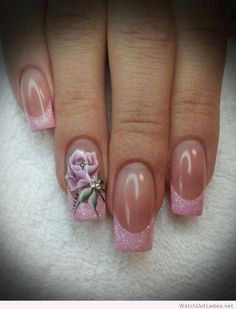 Baby pink french tipped square long nails with a gorgeous pink rose design