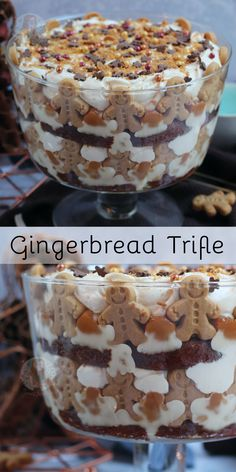 An easy Gingerbread Trifle with Ginger Cake, Gingerbread, Custard, Ginger Cream, Caramel and more! Perfect No-Bake Dessert for the festive season! Trifle Bowl Desserts, Trifle Recipe, Easy Desserts, Delicious Desserts, Dessert Recipes, Trifle Cake, Trifle Dish, Xmas Food, Christmas Cooking