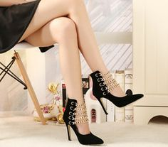 Star in same metal chain suede shoes pointed high-heeled shoes 11.5 CM high shoes with women's party