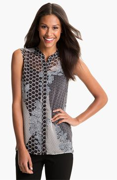 Pleione Sleeveless High Low Blouse available at #Nordstrom