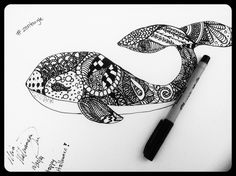 My first zentangle drawing #whale