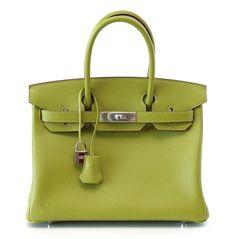 Hermes Rare Birkin Bag 30 Chevre Vert Anis Palladium Hardware #hermes