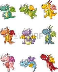 cartoon fat fire dragon icon set photo