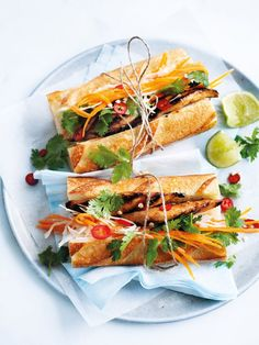grilled chilli chicken and slaw baguettes