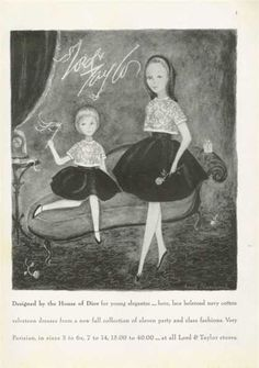 House of Dior Lord Taylor Dresses Blanchard Art Vintage Advertisements, Ads, Advertising, Taylor Dress, Fall Collections, Lord & Taylor, Parisian, 1960s, Dior