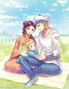 Not enough Steel Ball Run posts so here's Johnny Rina and their son George. By Kukuri Ito Bizarre Art, Jojo Bizarre, Here's Johnny, Dark Souls 3, Jojo Parts, Paisley Park, Jojo Memes, Jojo Bizzare Adventure, Anime