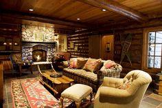 Northwoods Wisconsin full log lodge lake home lower level family room