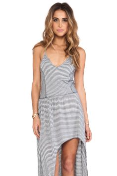 Tylie Mini Stripe High Low Dress in Charcoal from REVOLVEclothing
