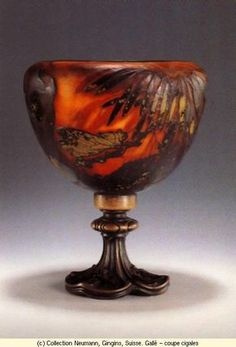 Emile Gallé, Nancy, (1846-1904), Blown, Internal Inclusions, Cased, Applied and Engraved Glass Bowl with Metal Mount.