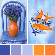 This Cobalt & Tangerine color inspiration brings an unexpected vibrancy to a cool palette of beautiful blues in your embroidery projects!