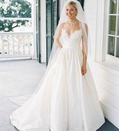 A Classic Plantation Wedding.  I like the neckline of this dress, I think.