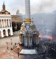 Kiev, largest city of Ukraine, before the violent demonstrations and now.