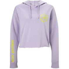Miss Selfridge Lilac Ocean Pacific Hoodie ($55) ❤ liked on Polyvore featuring tops, hoodies, lilac, hooded sweatshirt, sweatshirt hoodies, purple crop top, hoodie crop top and cotton hooded sweatshirt