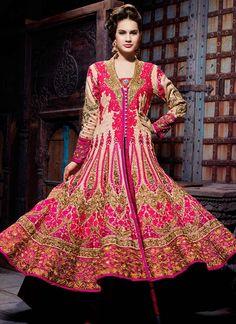 Beige Heavy Embellished Long Choli Lehenga