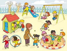 Carmen Martín Illustrator: Prints and Posters of Early Childhood Education Speech Language Therapy, Speech And Language, Speech Therapy, Speech Activities, Preschool Activities, Playground Pictures, Picture Comprehension, Sequencing Pictures, Picture Composition
