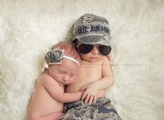Sweet newborn twins in military inspired set up! This was a dream come true =) Twin newborn photographer serving Jacksonville, Camp Lejeune, Hampstead, Swansboro  Wilmington, North Carolina. www.pleasantlycaptured.com Vendors: Bow- Fancy Girl Bow-Tique https://www.etsy.com/shop/fancygirlbowtique Air Force Set- Kasey's Creations https://www.etsy.com/shop/kaseycreations Baby Aviators- Sleepy Shimmer http://sleepyshimmercollection.bigcartel.com
