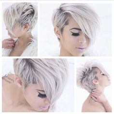 Snow white hair color and adorable short haircut and hairstyle Pixie Cut Styles, Short Hair Styles, Pixie Cuts, Love Hair, Great Hair, Snow White Hair, Corte Pixie, Cute Short Haircuts, Haircut Short