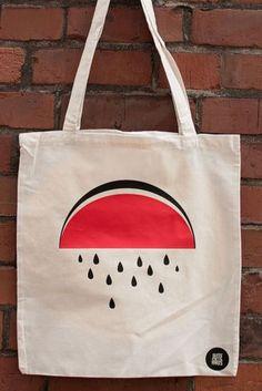 Jute Bag Watermelon Vintage Cloth Bag Fashion New Jutehaus Printed Tote Bags, Canvas Tote Bags, Diy Tote Bag, Reusable Tote Bags, Painted Canvas Bags, Linen Bag, Simple Bags, Cotton Bag, Cloth Bags