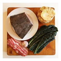 About to cook Halibut with celeriac, bacon and Cavolo Nero