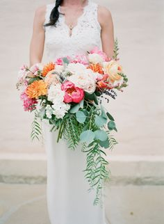 peony, garden roses, pepper berry peach, pink, and orange bouquet -Florals by Anna Le Pley Taylor, Image by Diana McGregor Photography