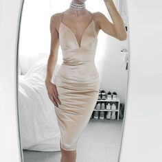 Tia Mcintosh - A'gaci Satin Dress, Rosegal Diamond Choker - Champagne Satin