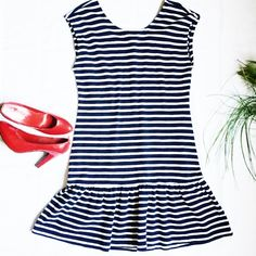 Nautical Striped Dress Blue and white striped dress, size L but should fit slightly larger as well. Old Navy Dresses