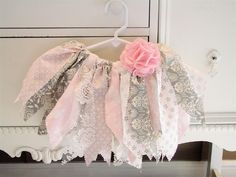 Pink Gray Fabric Tutu with Flower Clip. $28.00, via Etsy.