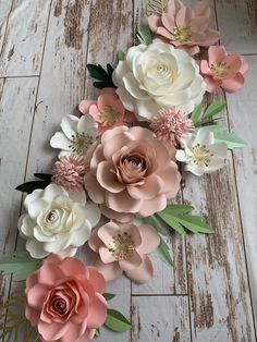 Blush and pink paper flowers wall decor for nursery , paper flower  nursery wall decor , nursery boho woodland inspired, paper flower roses