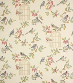 Beautiful 100% cotton fabric with a bang on trend pattern of birds and birdcages. Available in two beautiful colourways. Looks beautiful as curtains and blinds, also suitable for cushions. Buy online or visit us in Cheltenham, Gloucestershire or Burford, Oxfordshire.