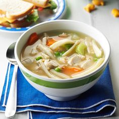Easy Turkey Noodle Soup Recipe -Rich, homemade taste that's easy on the budget makes this chunky soup a family favorite. We enjoy it with hot bread in winter and with salad in summer. Turkey Noodle Soup, Turkey Soup, Noodle Soups, Ham And Bean Soup, Ham Soup, Chicken Gravy, Chicken Soup, Rotisserie Chicken, Taste Made
