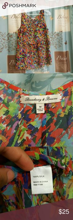 Madewell Broadway & Broome silk top Broadway and broome silk top. Madewell. This top looks cute both tucked in or out. It has one ruffle. When tucked.in looks like a cropped top. Madewell Tops