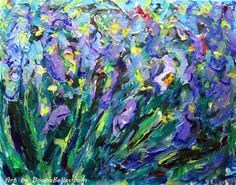 A group of irises are   in full bloom as they twist & twirl around each…