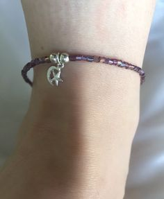 Japanese Glass and Sterling Silver Anklet with Moon & Star Charm - pinned by pin4etsy.com