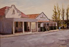 I remember this scene from my childhood school days in Franschhoek Landscape Drawings, Cool Landscapes, Landscape Paintings, South African Artists, Modern Buildings, School Days, Live, Africa Drawing, Places Ive Been