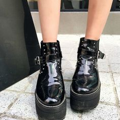 47.53$  Buy now - http://aligry.worldwells.pw/go.php?t=32779141195 - Top Sale Round Toe Boots Women Platform Ankle Boots Autumn Winter High/Flat Heel Shoes Sapatos Feminino 47.53$