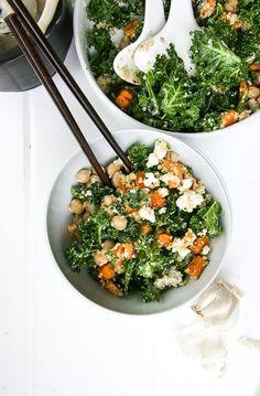 Kale Salad Bowl with Tahini, Roasted Sweet Potoates, Quinoa, Feta, & Chickpeas. Meatless and filling! #recipe #bowllife