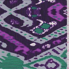 Purple, orchid purple, sterling, aqua green, black and white diamondprint. This verylightweight rayon fabric has a very soft feel and great drape.Compare to $12.00/yd